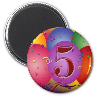 5o Decorações do balão da festa de aniversário Ímã Redondo 5.08cm