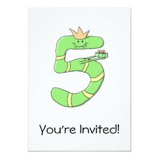 5o Desenhos animados do aniversário, verdes Convites Personalizados