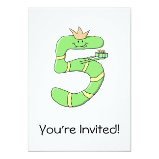 5o Desenhos animados do aniversário, verdes Convite 12.7 X 17.78cm