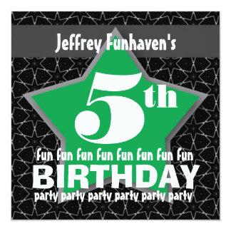 5o ESTRELA branca verde preta V05A da festa de Convite Personalizado