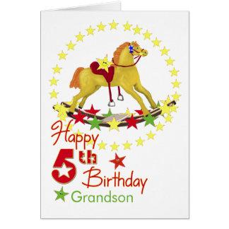 5o Estrelas do cavalo de balanço do aniversário Cartão Comemorativo