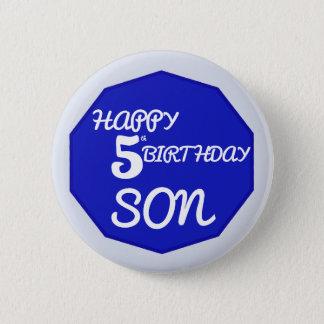5o filho feliz do aniversário no crachá dos azuis bóton redondo 5.08cm