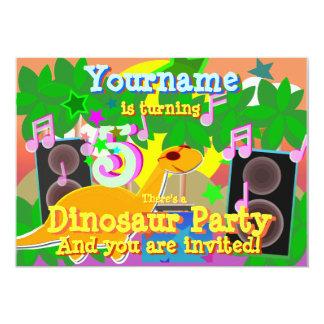 5o O dinossauro legal DJ do aniversário Party Convite 12.7 X 17.78cm