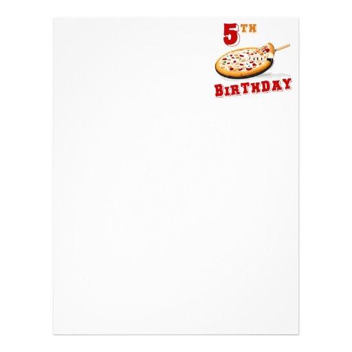 5o Partido da pizza do aniversário Papel De Carta