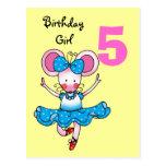 5o presente de aniversário para uma menina, bailar cartoes postais