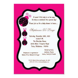 5x7 chá de fraldas quente da senhora cor-de-rosa convite 12.7 x 17.78cm