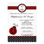 5x7 convite vermelho feminino do chá de fraldas da