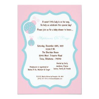 5x7 luz - chá de fraldas da senhora cor-de-rosa convite personalizado