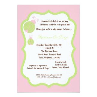5x7 luz - chá de fraldas da senhora cor-de-rosa convite 12.7 x 17.78cm