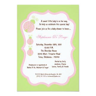 5x7 luz - chá de fraldas verde da senhora convite 12.7 x 17.78cm