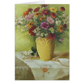 6021 Zinnias no cartão de simpatia amarelo do vaso