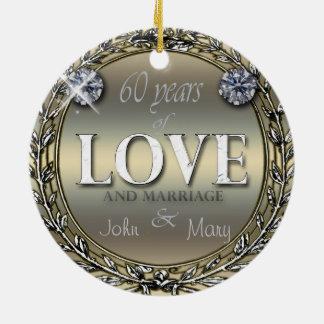 60 anos de amor ornamento de cerâmica redondo