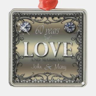 60 anos de amor ornamento quadrado cor prata