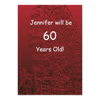60 anos de roda de Ferris frente e verso da festa Convite 12.7 X 17.78cm