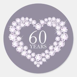 60 etiquetas cinzentas & brancas anos de coração adesivo