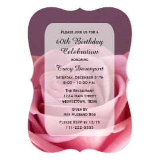 60th A festa de aniversário bonita aumentou Convite 12.7 X 17.78cm