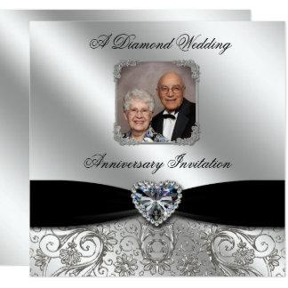 60th A foto do aniversário de casamento 5.25x5.25 Convite Quadrado 13.35 X 13.35cm