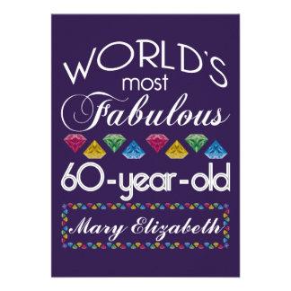 60th Aniversário a maioria de gemas coloridas Convite Personalizado