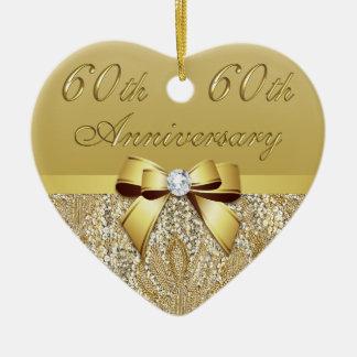60th Aniversário de casamento Ornamento De Cerâmica Coração