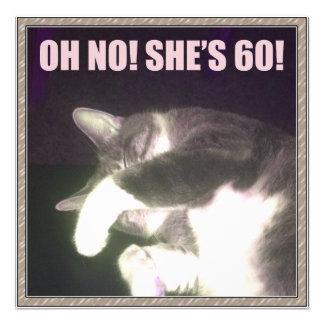 60th aniversário engraçado (gato) convite personalizados