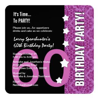 60th Aniversário engraçado NÃO sobre o monte Z60D Convite Quadrado 13.35 X 13.35cm
