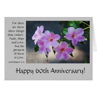 60th Aniversário, floral, verso da bíblia sobre o Cartão Comemorativo