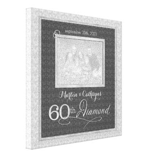 60th aniversário - foto personalizada 11x11 impressão em tela