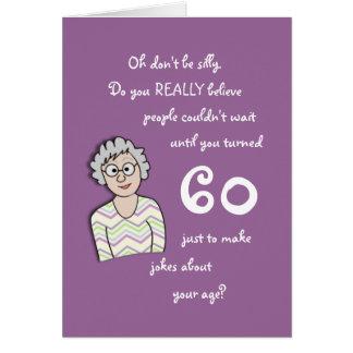 60th Aniversário para o cartão Ela-Engraçado