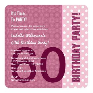 60th Aniversário para seu teste padrão moderno C60 Convite Quadrado 13.35 X 13.35cm