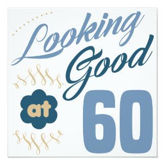 60th Aniversário que olha bom Convite Quadrado 13.35 X 13.35cm