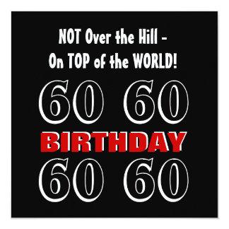 60th Aniversário W1028 engraçado preto de prata Convite Quadrado 13.35 X 13.35cm