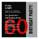 60th Aniversário W1471 engraçado preto de prata ve Convites
