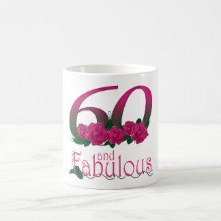 60th caneca da flor do rosa do rosa do aniversário