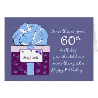 60th Cartão customizável do aniversário