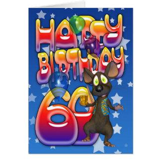 60th Cartão de aniversário bonito com rato pequeno