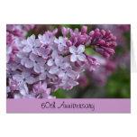 60th Cartão do aniversário com design do Lilac