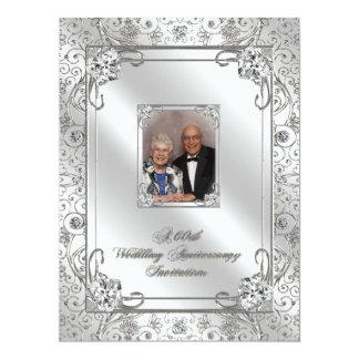60th Cartão do convite da foto do aniversário de