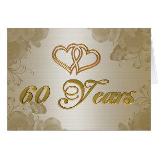 60th cetim do ouro do aniversário cartão