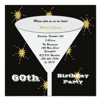60th Convite de aniversário -- Brinde do ouro 60th Convite Quadrado 13.35 X 13.35cm