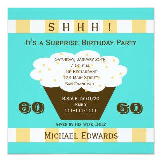 60th Convite de aniversário da surpresa - cupcake
