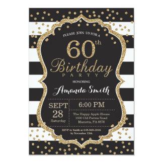 60th Convite do aniversário. Preto e brilho do