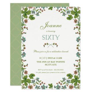 60th Convite do aniversário - Sixtieth floral do