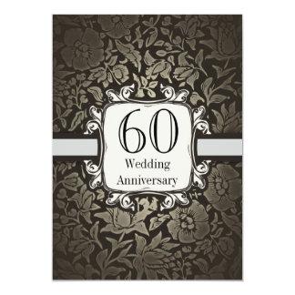 60th convite do vintage do damasco do aniversário convite 12.7 x 17.78cm