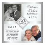 60th Convites de prata da foto do aniversário do Convite Quadrado 13.35 X 13.35cm