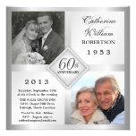 60th Convites de prata da foto do aniversário do d