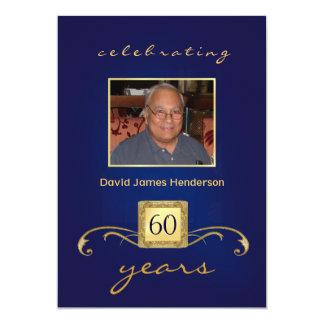 60th Convites do aniversário - azul & ouro do