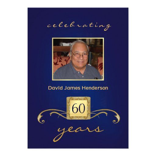 60th Convites do aniversário - azul & ouro do mono