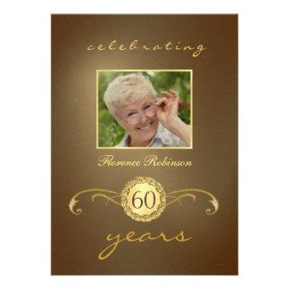 60th Convites do aniversário - monograma antigo do