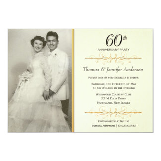 60th convites elegantes da festa de aniversário do