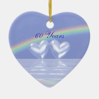 60th Corações do diamante do aniversário Ornamento De Cerâmica Coração